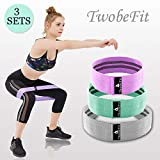 TwobeFit Resistance Hip Bands, Booty Exercise Workout Fitness Bands Booty Building Fabric Non-Slip Hip Bands Leg & Glute Strength, Set of 3 (Low, Medium Heavy) (Purple,Teal, Grey, S/M/L)
