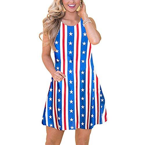 - Pengy Women's USA Flag Dress Casual Boho Floral Swing Tank Dress Summer America Flag Print Sleeveless Beach Dress Blue