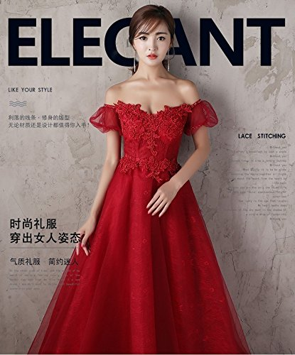 Generic Korean toast clothing red wedding dress banquet presided over strapless evening dress sexy long Dress Costume for women girl by Generic (Image #3)