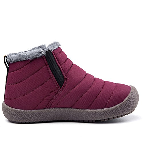 Z.SUO Girl Boy Unisex-Child Snow Boots Winter Anti-Slip Ankle Booties Outdoor Slippers Slip On with Warm Fully Fur Lined (Little Kid/Big Kid (12-12.5 M US Little Kid, Rose Red) by Z.SUO (Image #2)