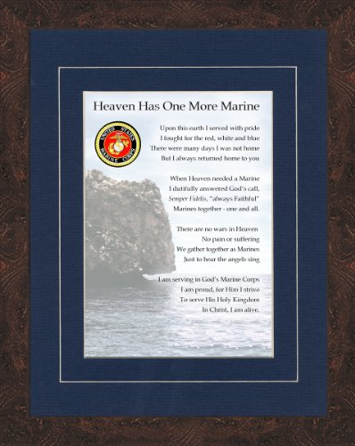 Military Memorial Marine Framed Gift for Sympathy and Condolence for Veterans or those who served in the Military
