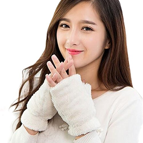 Price comparison product image White Winter Fingerless Gloves,FuzzyGreen Super Cute Candy Color Fuzzy Warm Gloves Half Finger Soft Women\'s Plush Mittens