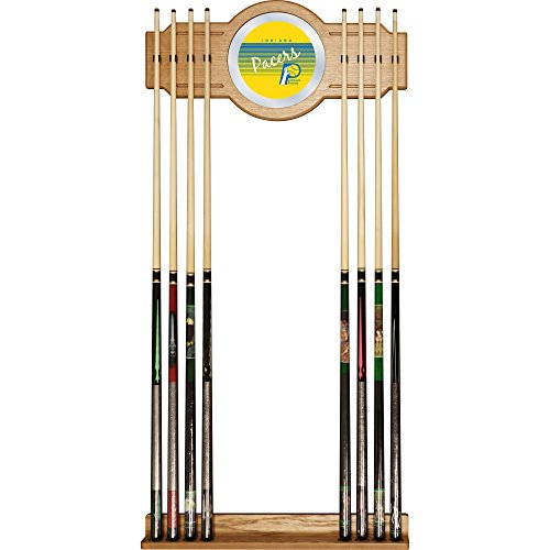 NBA Indiana Pacers Cue Rack with Mirror, One Size, Brown by Trademark Global