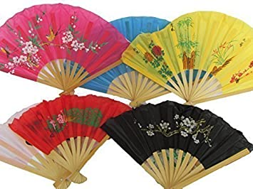 CHINESE JAPANESE GEISHA FANCY DRESS COSTUME BLACK PAPER WOOD DECORATIVE FAN 26cm