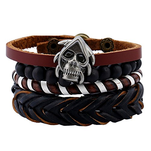 - DALARAN Leather Bracelet for Men Wrist Band Brown Rope Bracelet Bangle Skull Head Bead Chain