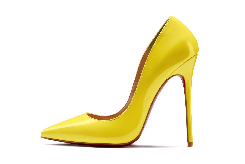 Women Shoe Pointed Toe Pumps Party Sandals Fashion Patent Leather High Heel Stilettos On Dress 12cm B07DG2KSTR 8 B(M) US|Yellow