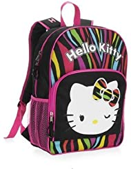 Hello Kitty Multi Color, Zebra Stripe, 16 Inch Backpack