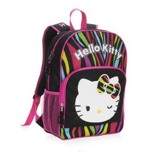 Hello Kitty Multi Color, Zebra Stripe, 16 Inch Backpack