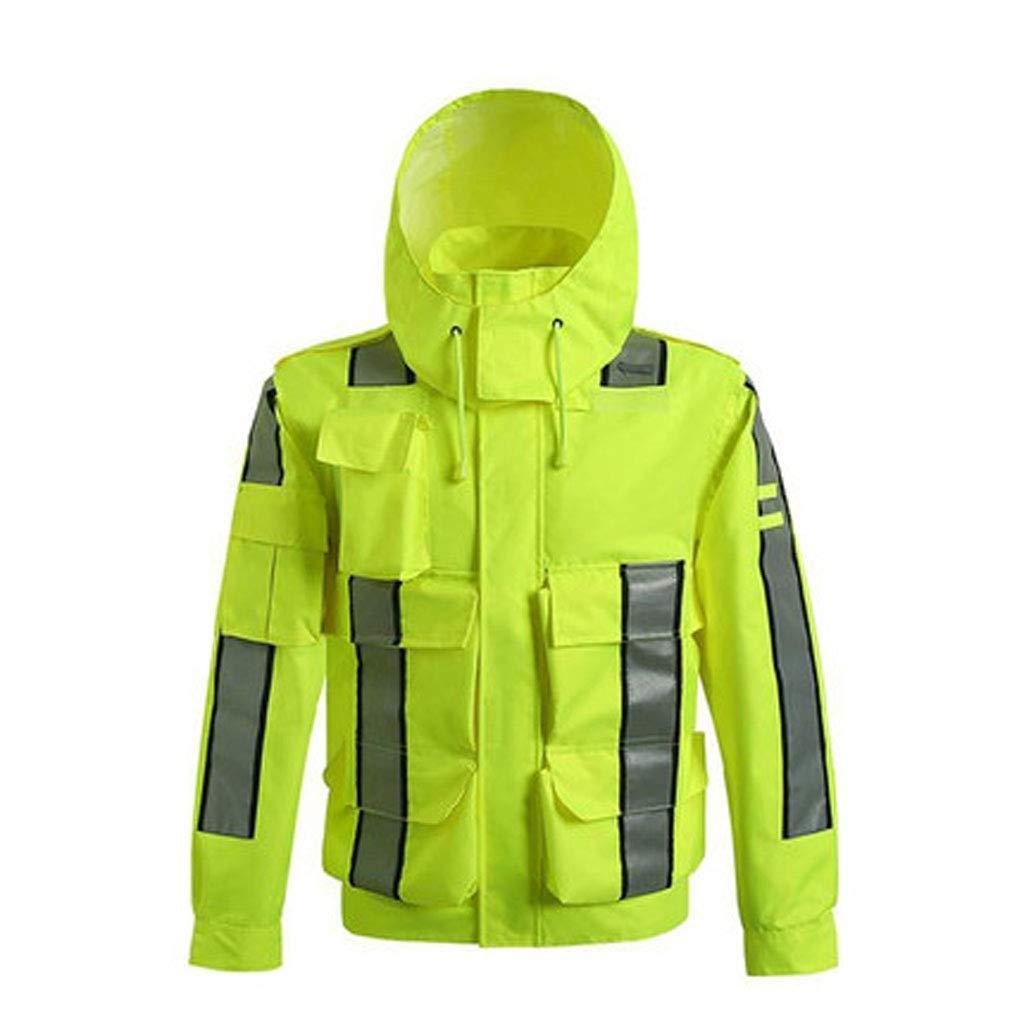 ZHF-Rainwear Clothing Reflective Raincoat-Waterproof Poncho High Speed Road Traffic Service Overalls, Traffic Duty Service Reflective Clothing Jacket Fluorescent Yellow Outdoor Waterproof Clothing