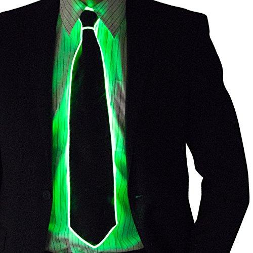 Stick Man Glow In The Dark Costume (Neon Nightlife Light Up Neck Tie for Men, Green)
