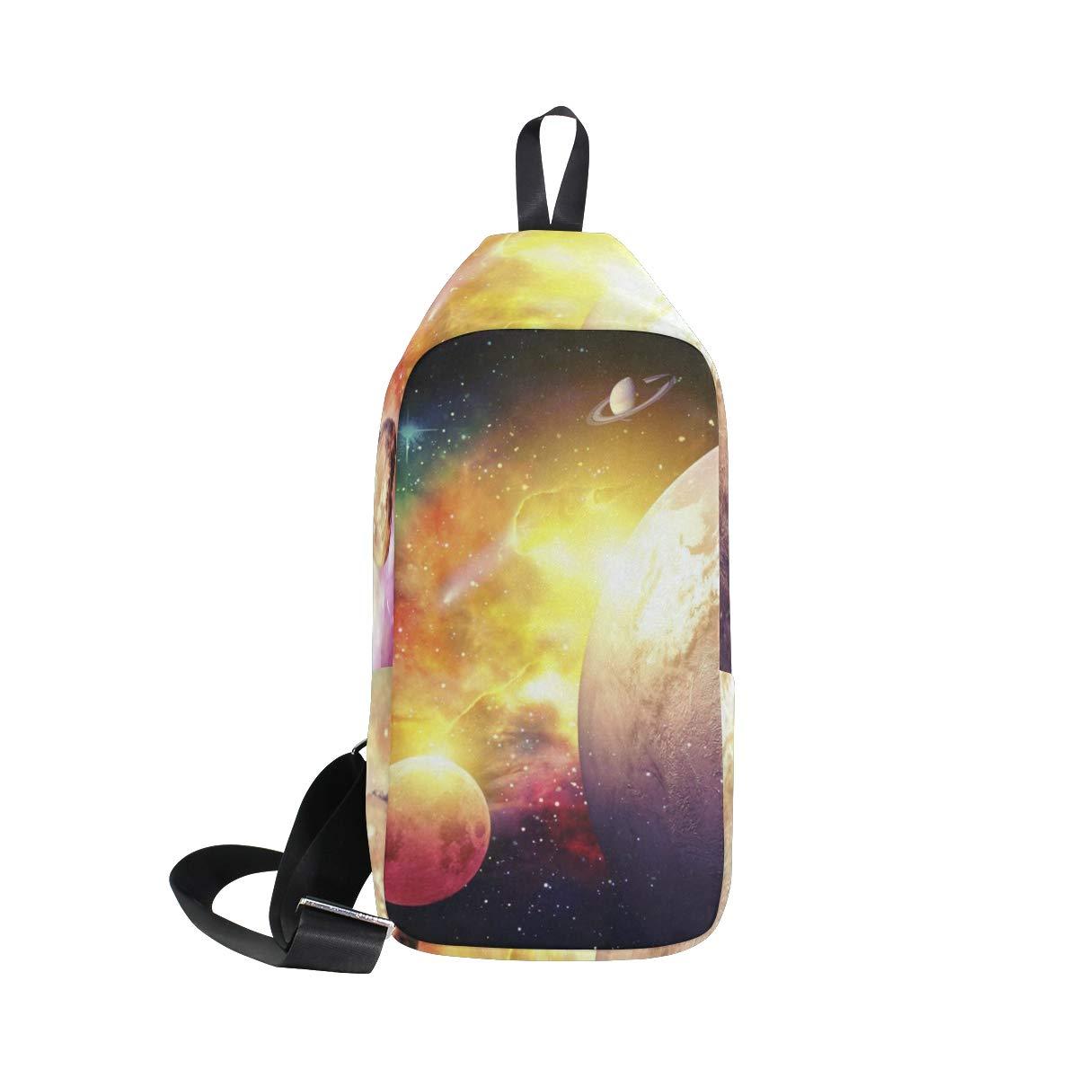 Lovexue Sling Bag Blue and Red Fire Mens Chest Shoulder Backpacks Crossbody One Strap Daypack