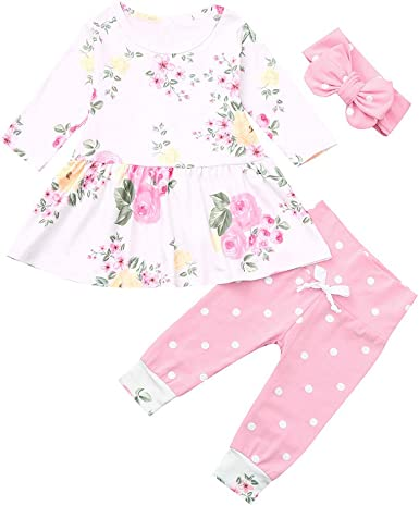 6-24Months Toddler Infant Baby Girl Floral Clothes Set Top+Pants+Headband Outfit