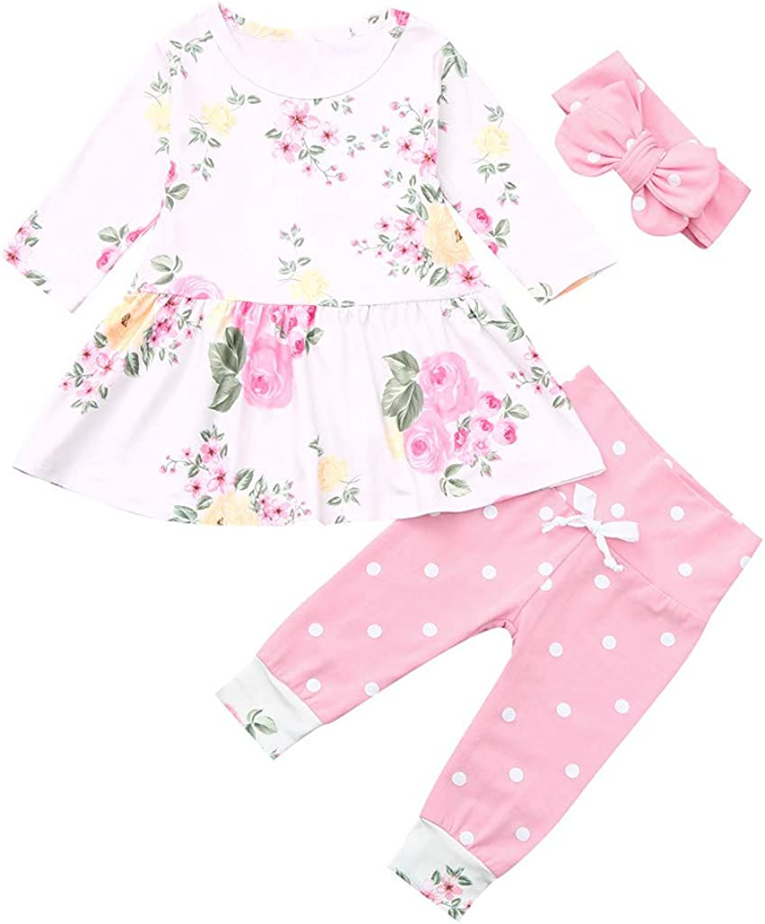 KONFA Toddler Baby Girls Long Flare Sleeve Dots Print T-Shirt,for 0-4 Years Old,Little Princess Soft Blouse Tops Clothes Set