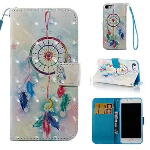 Case for iPhone 7/8,Pu Leather Anti Sliding Inner Soft Bumper Card Holder Slim Flip Folio Lightweight Kickstand Case with Magnetic Closure Wrist Strap. Compatible with Apple iPhone 7/8 -Dreamcatcher