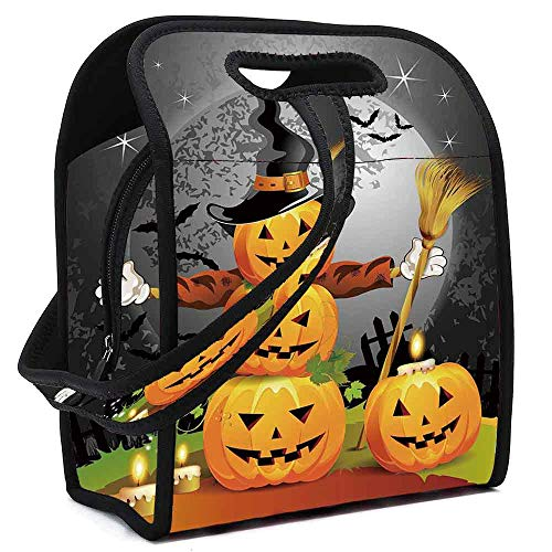(Halloween Lightweight Neoprene Lunch Bag,Cute Pumpkins Funny Composition Traditional Celebration Witches Hat Broomstick for Kids Nurse Teacher Outdoor,Square(8.5''L x 5.5''W x)