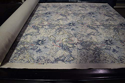 by The Yard- Vintage Globe World Printed Navy 100% Flax Linen Toile Fabric Upholstery 56