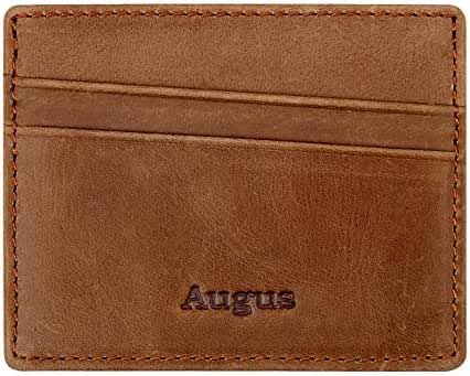 Leather Card Holder Ultra-Slim Front Pocket Wallet AUGUS Women Card Case /Men RFID Wallet