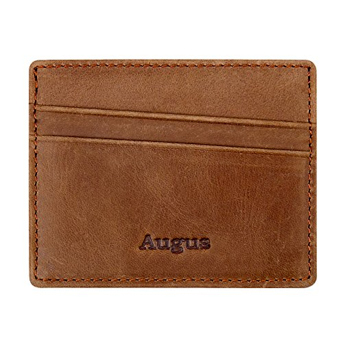 Augus Slim Genuine Leather Card Holder Front Pocket Wallet with RFID Blocking