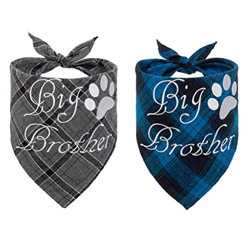 EXPAWLORER Plaid Dog Bandana Scarf – 2 Pcs Embroidery of Big Brother Washable Cotton Triangle Accessories for Small…