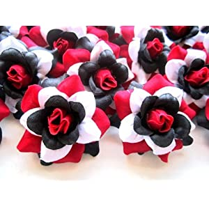 "(24) Silk Red Black White Roses Flower Head - 1.75"" - Artificial Flowers Heads Fabric Floral Supplies Wholesale Lot for Wedding Flowers Accessories Make Bridal Hair Clips Headbands Dress 1"