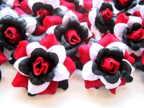 Amazon com 24 silk red black white roses flower head 1 75 artificial flowers heads fabric floral supplies wholesale lot for wedding flowers