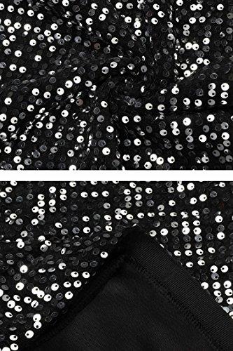 festa matita donna Natale lunghe Soldi paillettes dress di scollo maniche abito Meaneor a v qUnSvZx