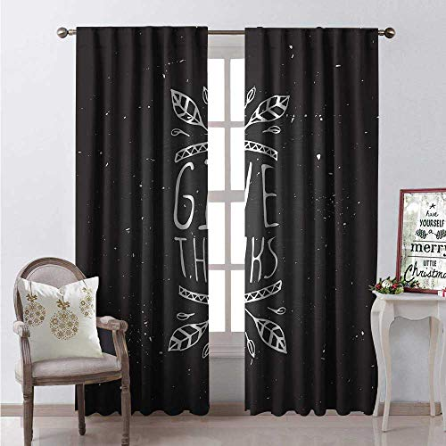 (Hengshu Thanksgiving Window Curtain Drape Sketchy Outline Leaves Give Thanks Typography on Chalkboard Backdrop Customized Curtains W108 x L84 Dark Grey White)