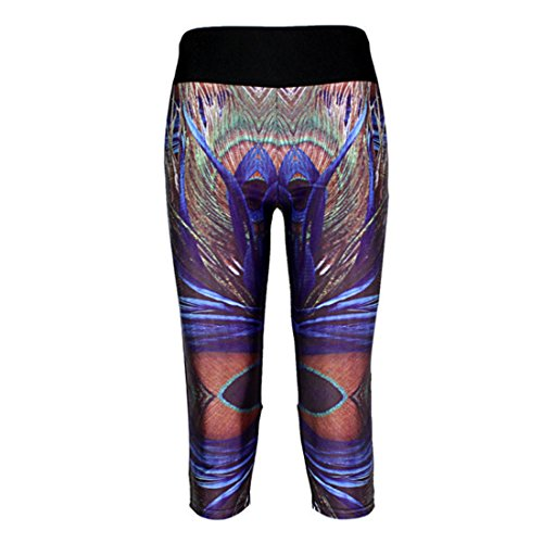 Women's 3D Feather Printed High Waist Capri Tights Leggings Black