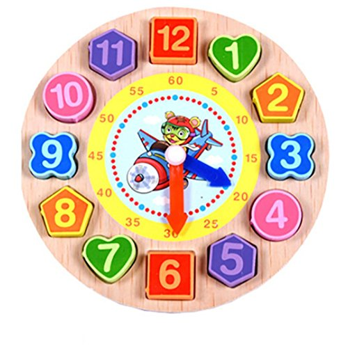 Beaded Squeeze Toy (Cartoon Animal Educational Toys For Children Wooden Beaded Digital Clock Puzzle Toy (D))
