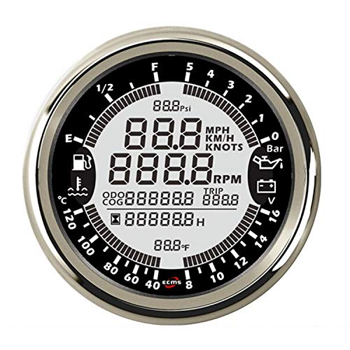 Dig dog bone-meter 12V 85mm 6in1 Multifunction Gauge GPS Speedometer Tachometer Hour Water Temp Fuel Level Oil Pressure 5bar Voltmeter,Car Instruments
