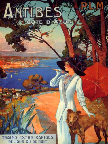 ANTIBES COTE D'AZUR OCEAN VIEW FRANCE LADIE WITH DOG TRAVEL VINTAGE POSTER REPRO