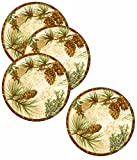 Set of 4 Merritt Melamine Pine Ridge Round Dinner Plate 11