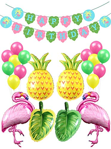 Flamingo Party Decorations-1 Happy Birthday Banner, Pineapple Palm Tree Flamingo Foil Balloons, Party Supplies and Favors for Girls
