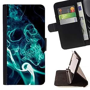 Momo Phone Case / Flip Funda de Cuero Case Cover - Cráneo Humo Azul;;;;;;;; - LG G3