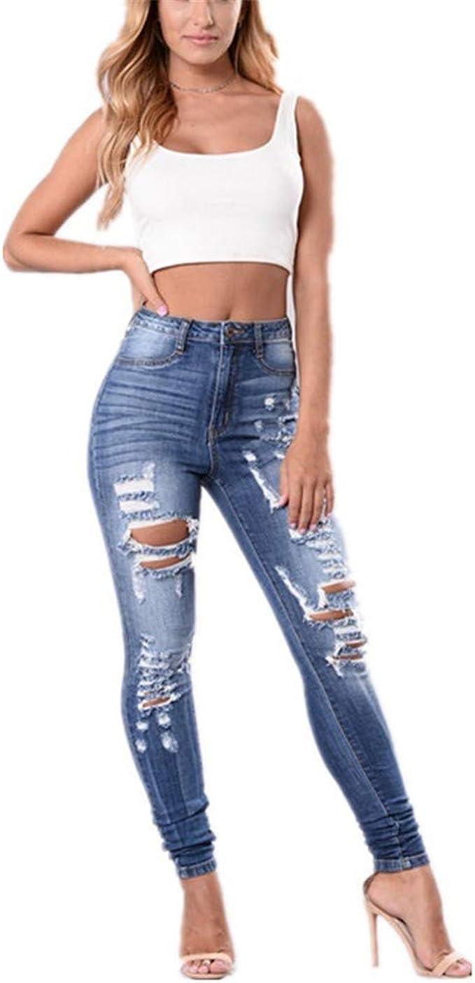 Pantaloni Strappato per Donna Moda Skinny Denim Pantaloni con Tasche retr/ò Vita Media Slim Fit Stretch Casual Jeans Pantaloni S-2XL