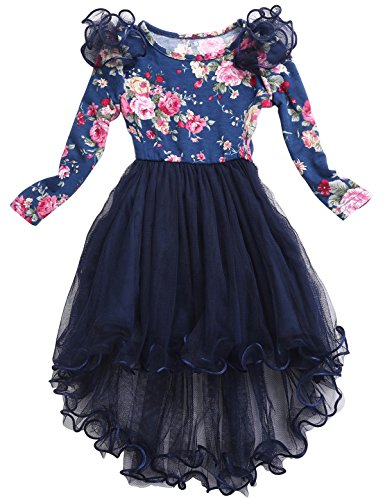 Toddler Dress Girls Clothes Long Sleeve high Low Navy Blue Party Dress for Girls Dresses Size 4 Princess Dress