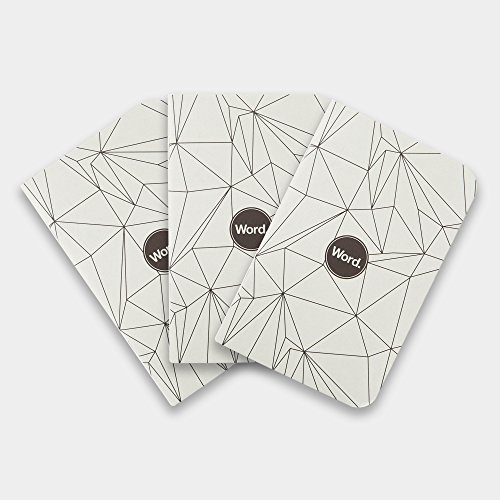 Word. 3 Pack Lined Acid Free Recycled Pocket Notebooks (Grey Polygon)