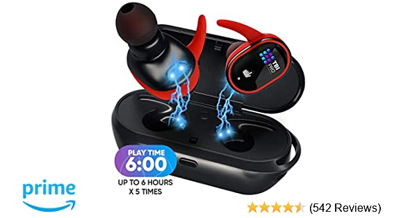 Upgraded True Wireless Earbuds - 30 Hours Total with Strong Bluetooth 5 0,  IPX8 Waterproof TWS Stereo Headphones in-Ear Built-in Mic Headset Premium