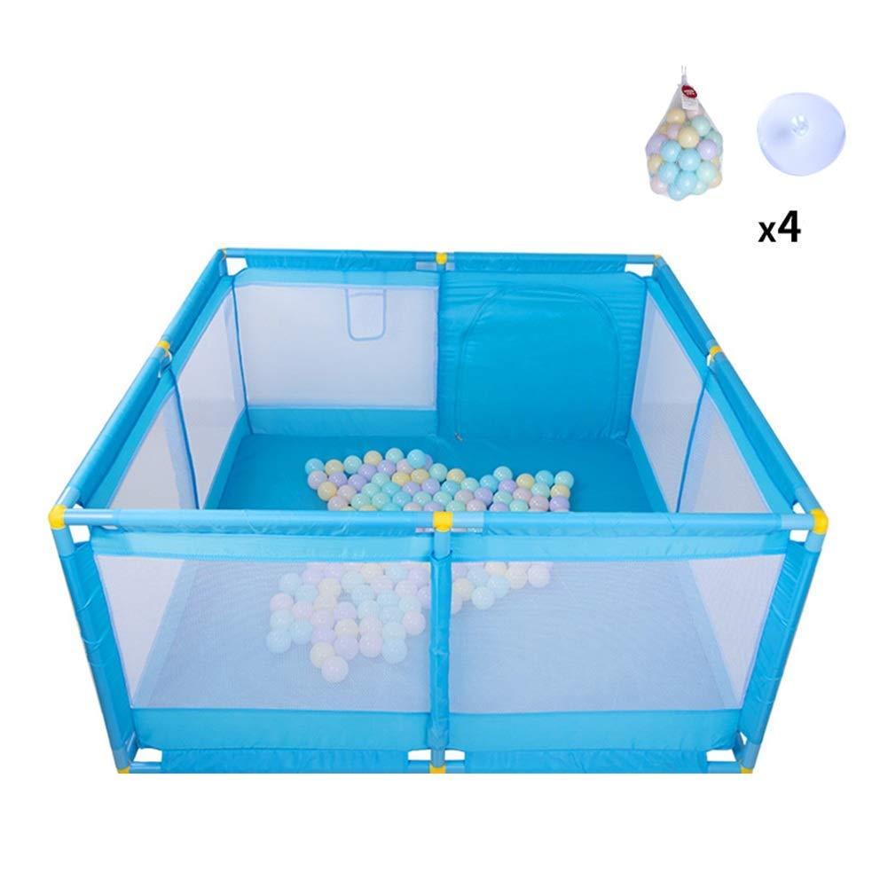 Q.AWB子供ベビーサークルベビーベビーサークル子供落下防止オックスフォード布保護ゲーム安定したプラスチック製のボール屋内/屋外 - 66 cm高(色:青、サイズ:128 X 128 X 66 CM) 128X128X66CM Blue B07V4797LF