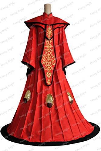 Star Wars The Phantom Menace Queen Padme Amidala Dress Cosplay Costume Red Dress L (Queen Padme Costume)
