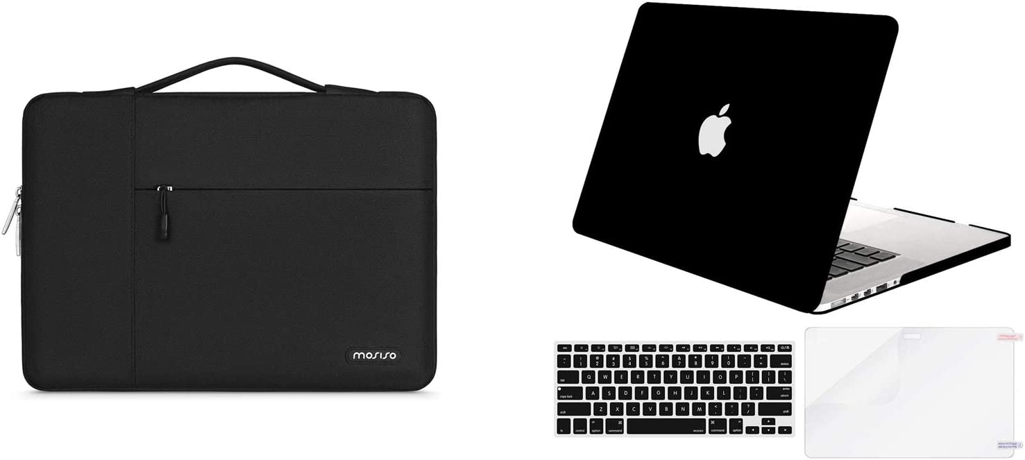 MOSISO Plastic Hard Shell Case & Corner Protection Laptop Sleeve Bag Compatible with Older Version MacBook Pro Retina 13 inch (Models: A1502 & A1425) (Release 2015 - end 2012), Black