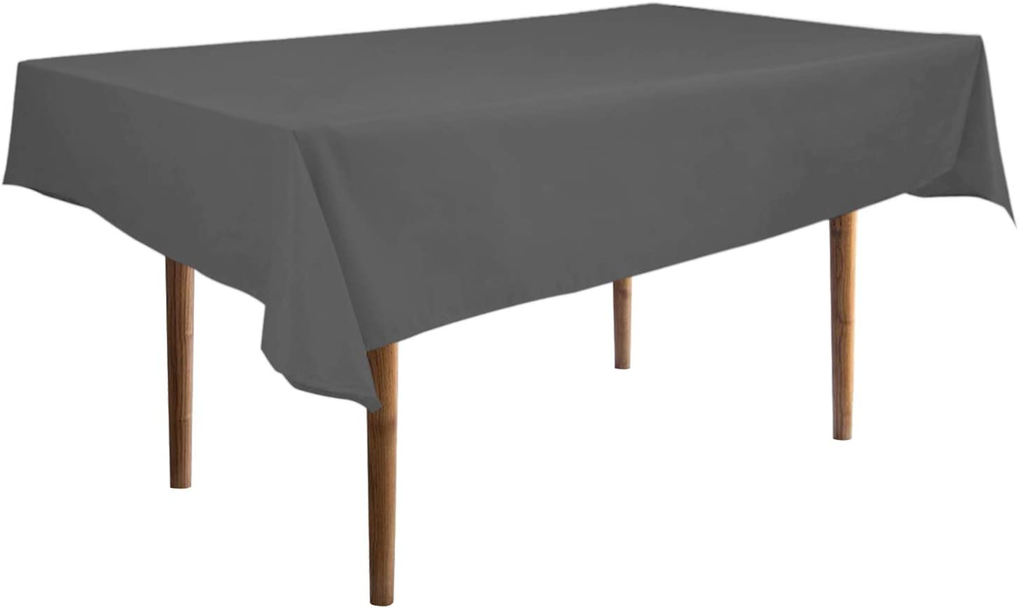 """Easy-Going Rectangle Waterproof Tablecloths 60"""" x126"""" Dark Gray Spillproof Fabric Tablecloth,Decorative Fabric Table Cover,Great for Buffet Table, Parties, Holiday Dinner, Wedding & More"""