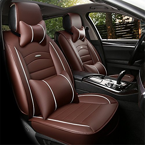 XZW AN All-inclusive leather All-inclusive Car Seats All Seasons Business Seats Five GM Seats Four season universal pad (Color : Brown):