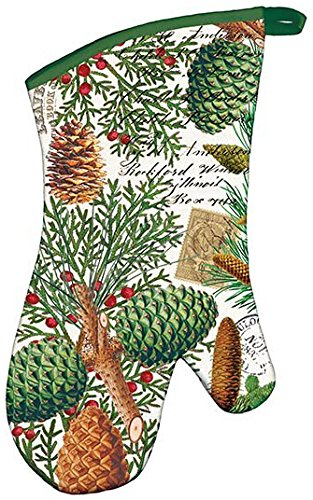 Pinecone Oven Mitt - Michel Design Works Padded Cotton Oven Mitt, Spruce