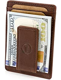 Travami Leather Magnetic Front Pocket Money Clip Wallet