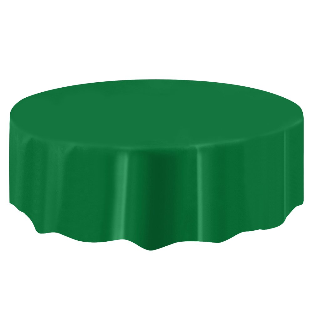 Boshen 10pcs/Pack Plastic Table Cloth 84''/54''x108'' Table Cover Cloth for Restaurant Banquet Wedding Party Festival Decor (Deep Green, 84 inch-Round)