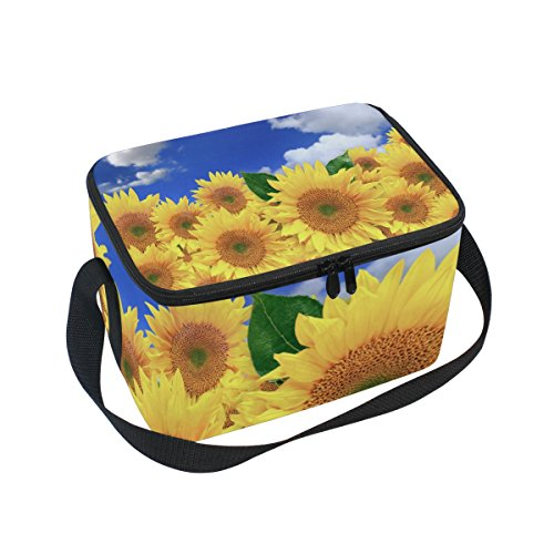 ALAZA Bright Happy Sunflower Field Insulated Lunch Bag Tote Bag Cooler Lunchbox for Picnic School Women Men Kids -