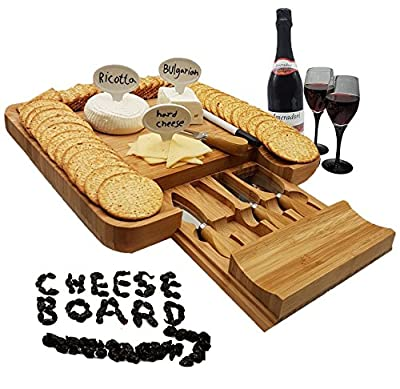 Bamboo Cheese Board & Knife Set with Slide-Out Drawer, Free Bonus - Cheese Markers Set of 4, Gift Box, Kitchen Tool by 1ELEGANT