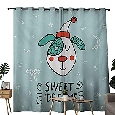NUOMANAN Blackout Curtain Panels Window Draperies Sweet Dreams,Cartoon Dog with Hat on a Heart Moon and Stars Background Doodle Style Animal,Multicolor,for Bedroom, Kitchen, Living Room