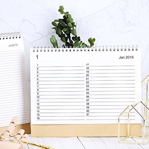 JUNDA Desk Pad Calendars,Twin-Wire Binding,July 2018 - December 2019,Monthly Planners for Office,School,Family,15x24x7CM,Pack of 2 by JUNDA (Image #2)